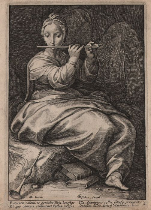 Hendrick Goltzius (1558-1617) after - Euterpe, Muse of Music and Lyrics - 1592