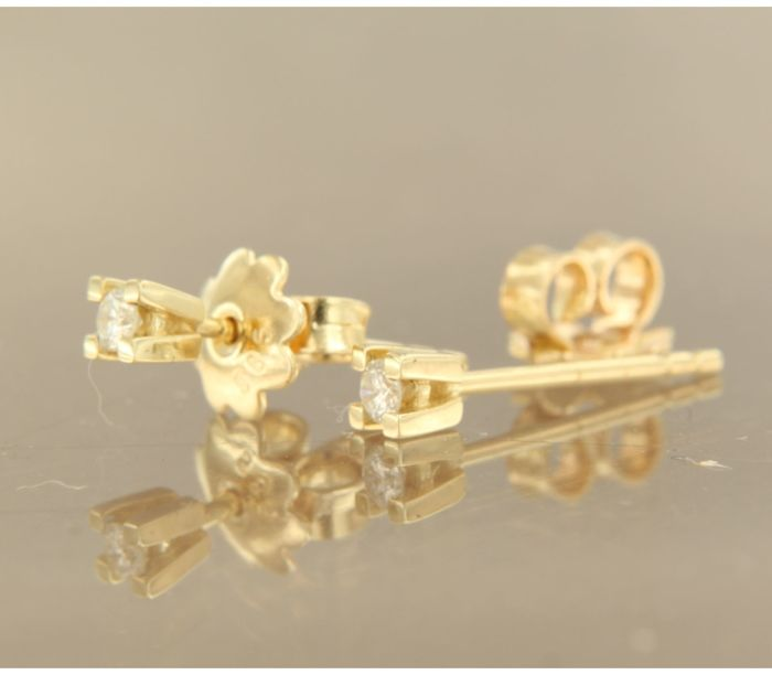 14 kt Yellow gold solitaire ear studs with brilliant cut diamonds of approx. 0.12 ct in total - 3 mm - No reserve price