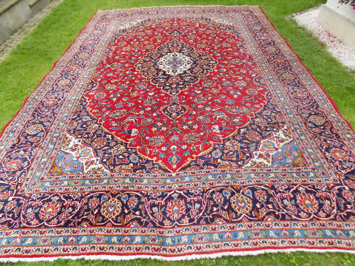 Densely hand-knotted wool Kashan 425/298 cm, 1970s/1980s