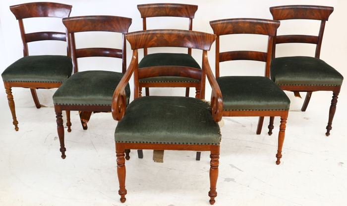 Set Of 6 Biedermeier Chairs, Of Which 1 Armchair   Germany   Circa 1860