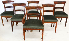 Set of 6 Biedermeier chairs, of which 1 armchair - Germany - circa 1860