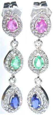 18 kt  White gold dangle earrings with 96 GH/SI diamonds, 2 Colombian emeralds, 2 Burmese rubies and 2 Ceylon blue sapphires. AA colour. Length: 31.40 mm. No reserve price.