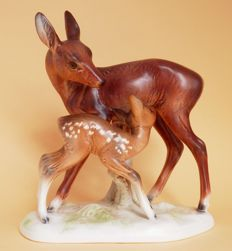 Cortendorf - Deer with young - porcelain