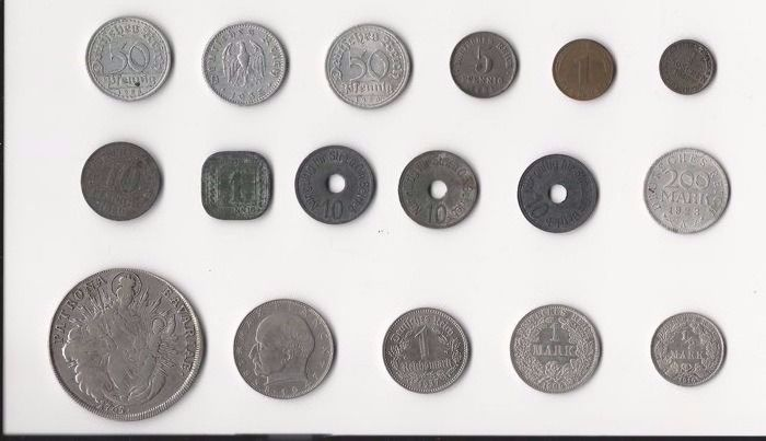 Germany, German states to Federal Republic – 17 coins 1765 / 1975 – incl. silver