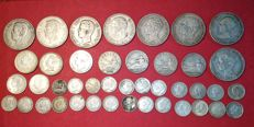 Spain. Lot of 56 silver coins from the years 1786 to 1933.  Values from 1/2 Real to 5 pesetas.