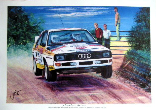 "Fine Art Print - ""A Drive Down The Line"" - Walter Rohrl/Christian Geistdorfer - Audi Quattro S1 #1 - International Ulster Rally"