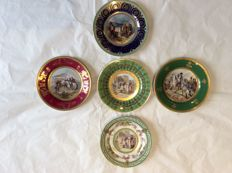 Set of 5 Antique Napoleon porcelain dishes