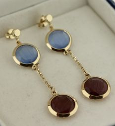 14 kt Cataleya Jewels yellow gold dangle earrings with precious stones, size: 10 x 40 mm