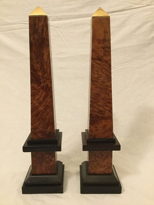 A pair of briar, ebony and brass obelisks - Italy, 20th century