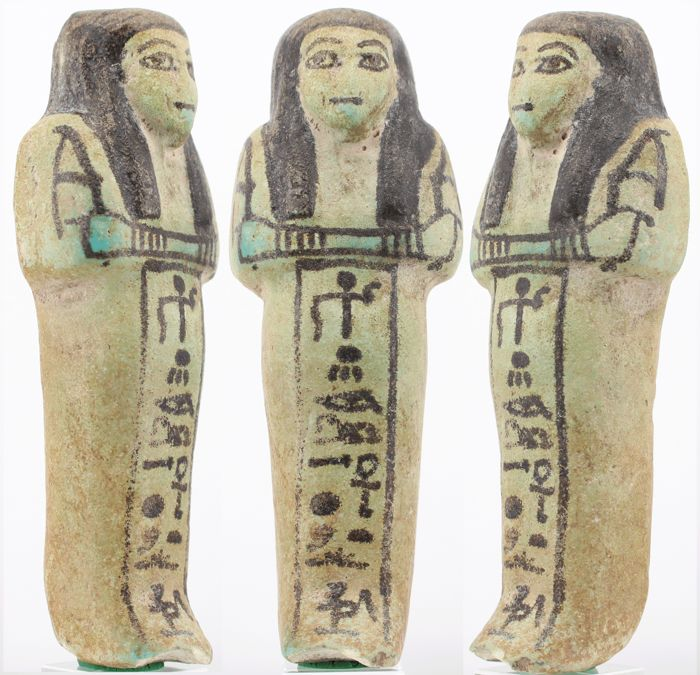 "Ancient Egyptian Faience Very rare nice fayence Shabti for ""Anchtu"" Invoice from 1965 - 13.4×5×3 cm"