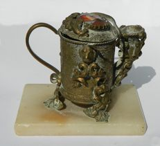 Fragrance oil burner; teapot shape with enamel female portrait picture -ca 1820