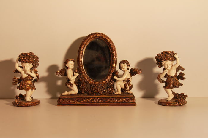 Old romantic set of angels and maenads - mirror with candle holders