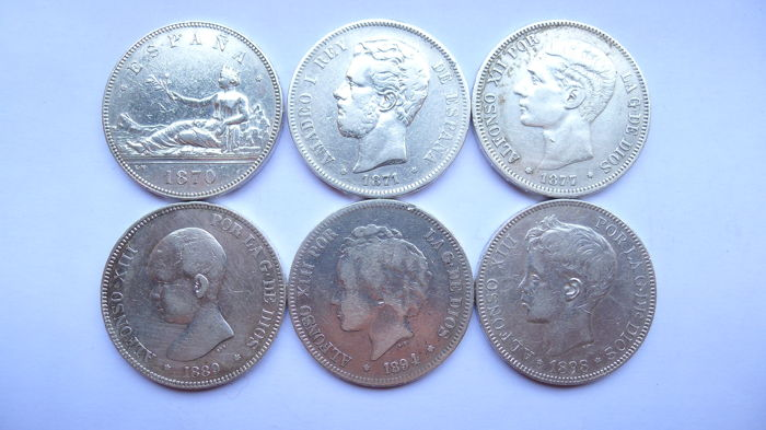 Spain – Lot of 6 Coins – 5 silver pesetas