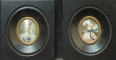 Two signed portrait miniatures, early 20th century