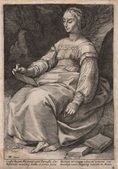 Hendrick Goltzius (1558-1617) by Anonymous - Clio,  the Muse of History -  1592