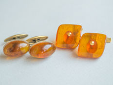 Two pair of Natural Baltic Amber cuff links with natural honey/ cognac Amber