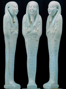 Egyptian faience Shabti of Nanefer-senebek, Son of Her-udja, born of Ta-net-per-nbw - ca. 11.3 cm  c. 4,45 inches