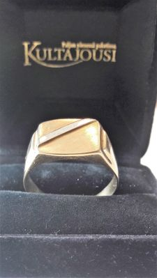 Vintage 14K Bi colour 585 gold mens ring, size 21,75 mm, No Reserve
