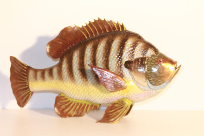 Large porcelain fish with beautiful colours and bronze fins