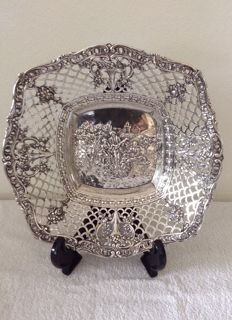 Silver open work dish, Germany, ca. 1890