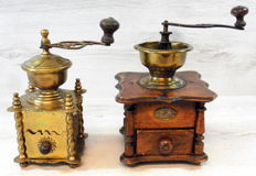 Two antique and rare coffee grinders produced in France