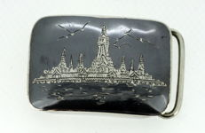 Vintage Thai sterling silver and niello belt buckle, Thailand, Siam sterling Nielloware