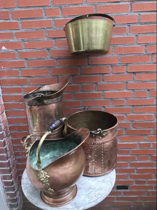 Copper coal scuttle, copper bucket and a brass bucket