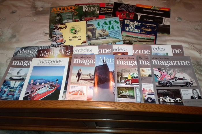 8 books about different cars and different years 1900 and 15 nice mercedes magazines various. Black Bedroom Furniture Sets. Home Design Ideas