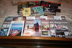 8 books about different cars and different years 1900 and 15 nice Mercedes magazines various models and years