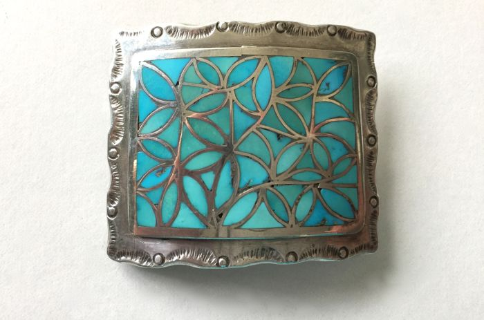 Belt buckle (H/F/solid sterling silver with turquoise inlay, Navajo (USA), item signed 1940s