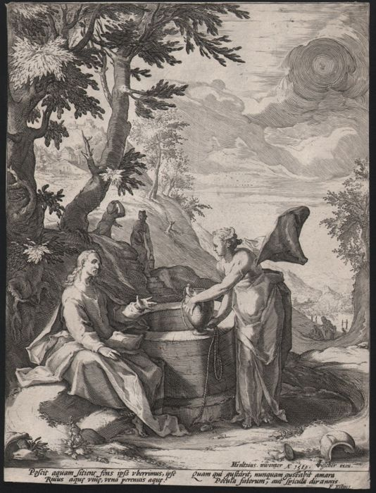 Hendrick Goltzius (1558-1617) - Christ and the woman of Samaria -  1589