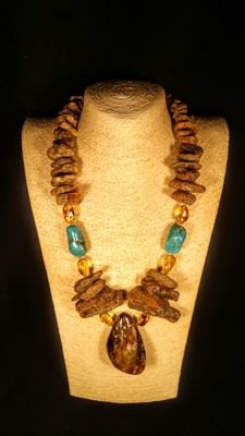 Baltic Amber necklace with Turquoise Beads accent , length 66 cm