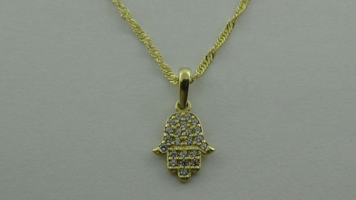 14 kt gold Singapore necklace with pendant (Hand of Fatima) - length: 50 cm