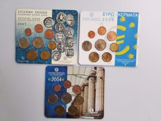 Greece – coin set, 3 pieces, 2002, 2004 and 2007