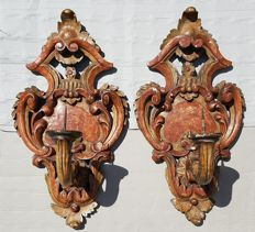 A pair of wall torchères/sconces in lacquered wood - Venice, Italy - 19th century