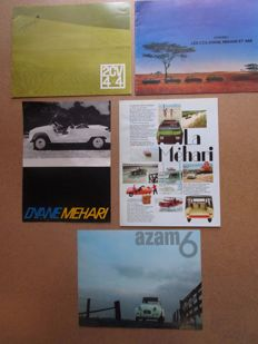 Citroen 2CV, Azam6, Mehari, Dyane, Ami - set of 5 catalogues for the models - from 1960 to 1970