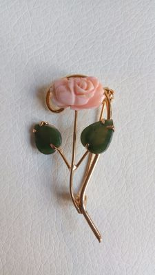 Gold-plated brooch with jade and pink coral — 1970s