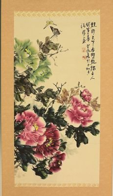 Handpainted scrollpainting 'Butterflies on Peony' -  China  -  2nd half 20th century