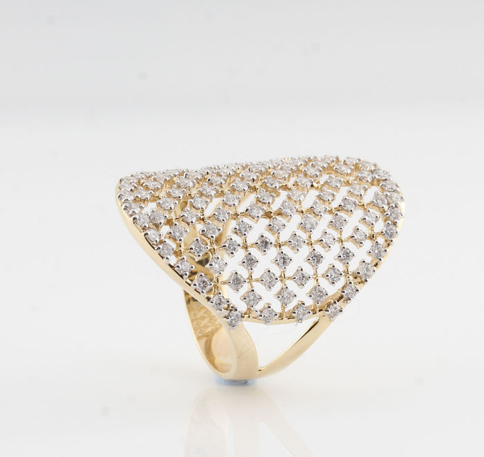 "14kt gold diamond ring total approx . 1.38ct / 5.10gr /  size  56.5 / G-H / VS2-VS1 / ""NEW"""
