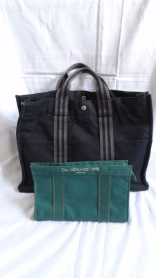 Hermes Logos Fourre Tout MM Hand Tote Bag Clutch Cotton 2set