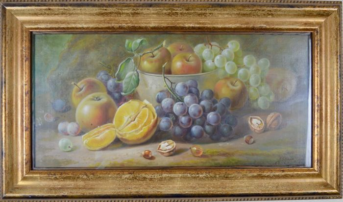 R E Hague. (19th/20th century) - Still life of fruit and ... Almonds Vertaling