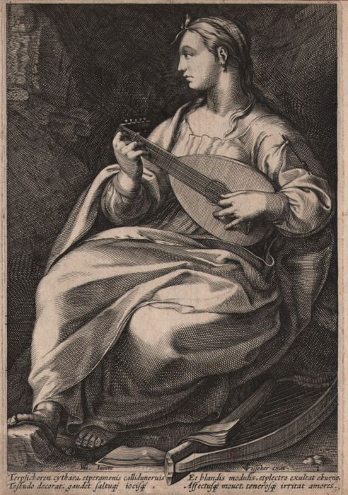 Hendrick Goltzius (1558-1617) by Anonymous - Terpsichore, the muse of the singing and dance, playing the lute - 1592 or later