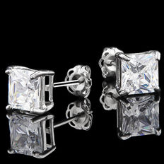 14K white gold stud earring set with created moissanites - 13mm x 6mm