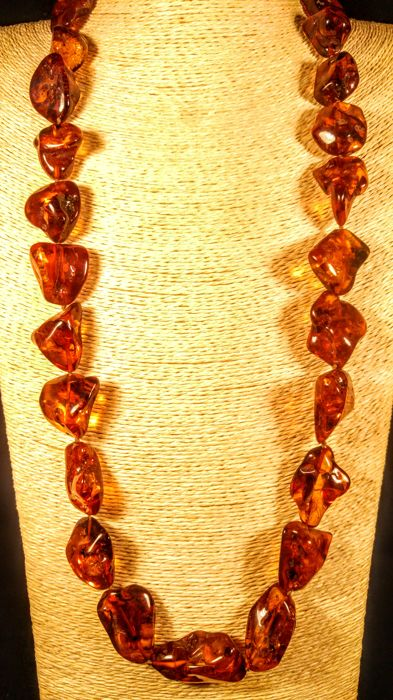 Italian style Natural Baltic Amber necklace,  length 80 cm