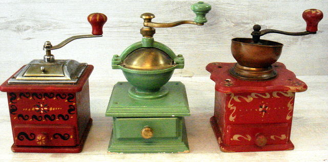 Three antique and special models wooden coffee grinders