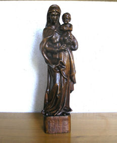 Very beautiful wooden statue of the Virgin and Child - ca. 1900, France