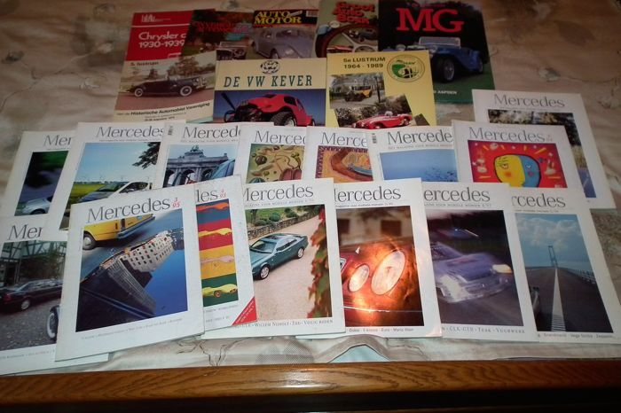 8 books about different cars with nice colours, pictures and stories and 15 magazines of various Mercedes years and models