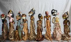 Nine Wayang Golek puppets i.a. Hanouman – West Java – Indonesia – mid 20th century