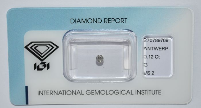 0.12 ct brilliant cut diamond, G, VS2