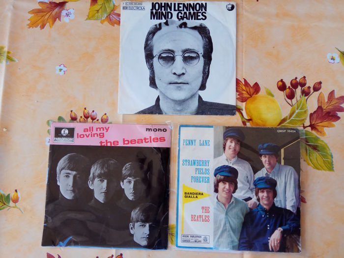 3x beatles and jhon lennon 45 rpm 7 inch + 10x cassettes beatles and paul mc cartney